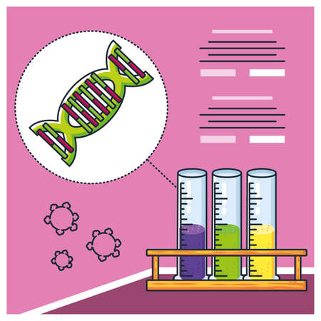 infographic with dna molecule, research coronavirus vector illustration design