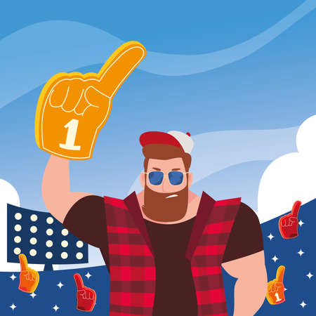 man holding a hand glove with number 1 fan, yellow foam finger vector illustration design