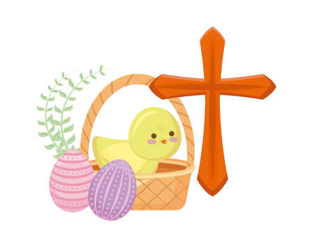 cute chicken with basket wicker with eggs easter vector illustration design Vettoriali