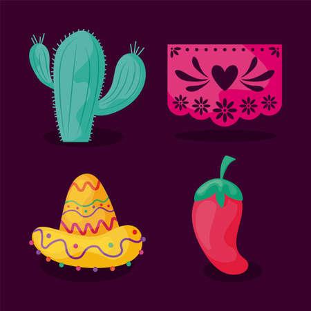 set of icons cinco de mayo vector illustration design Vector Illustration