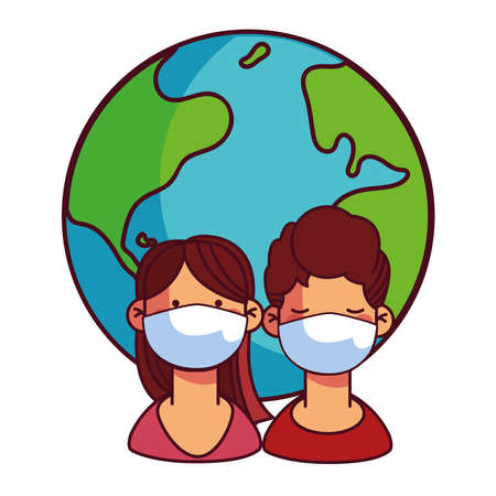 couples with masks taking care of the world vector illustration design