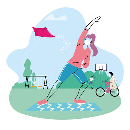 people with masks outdoors doing sports vector illustration desing