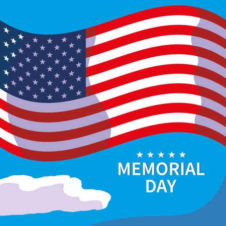 united states flag with label memorial day vector illustration design Vetores