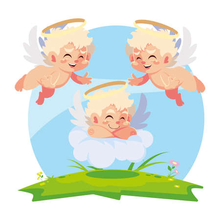 cute cupid angels in different poses, valentines day vector illustration design