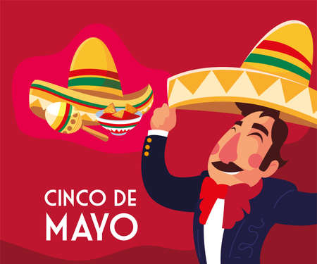 cinco de mayo card of greeting with mexican mariachi vector illustration design