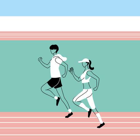man and woman avatar running design, Marathon athlete training and fitness theme Vector illustration