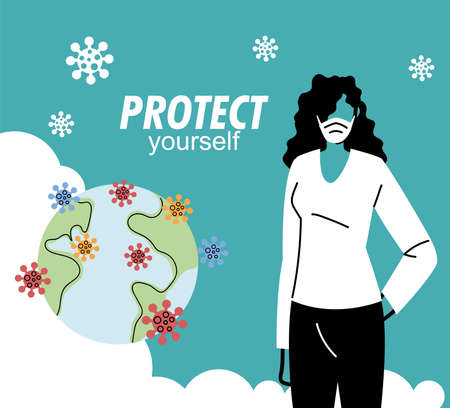 woman with mask protecting himself virus vector illustration desing