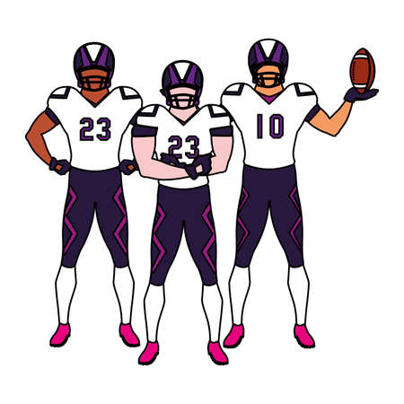 team of players american football , sportsmen with uniform vector illustration design