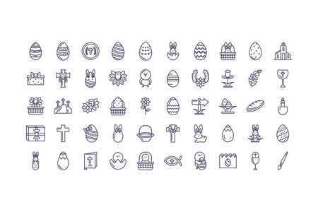 happy easter day icons set over white background, line style icon, vector illustration