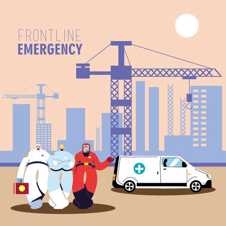 First-line emergency doctors wearing a protective suit to avoid contagion of coronavirus vector illustration design