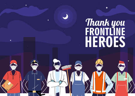 Thanks to the front line workers. Diverse people from different occupations wear protective masks vector illustration design