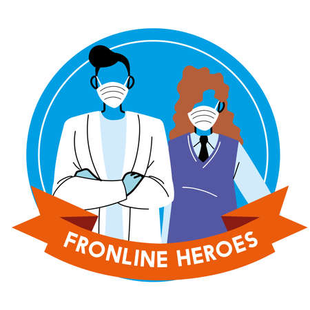 Thanks to the frontline heroes. Doctor and secretary wearing masks vector illustration design