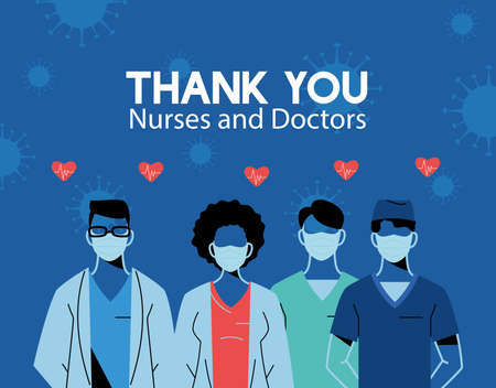 Thanks to the doctors and nurses who work in hospitals and fight coronavirus vector illustration design 矢量图像