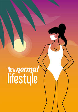 girl with mask and bikini in summer vector illustration desing
