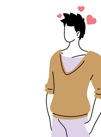 cheerful and in love young man vector illustration design