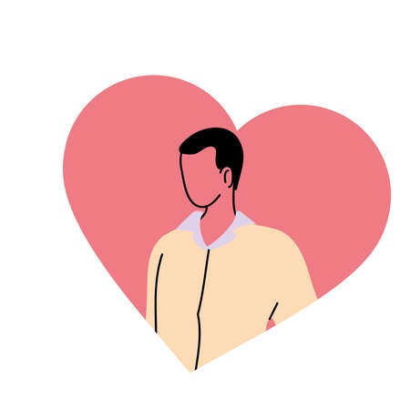 cheerful and in love young man vector illustration desing