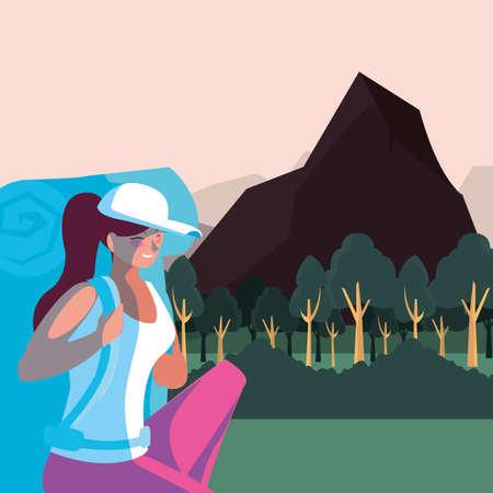 Hiker woman with bag and landscape design, Walker excursionist rambler tripper tourist travel trip tourism and journey theme Vector illustration