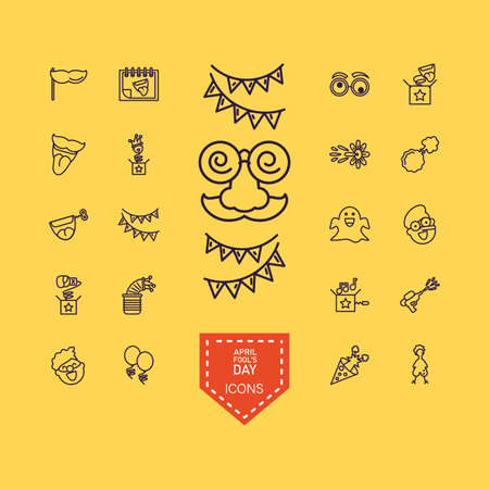 crazy mask and april fools day icons set over yellow background, line style, vector illustration