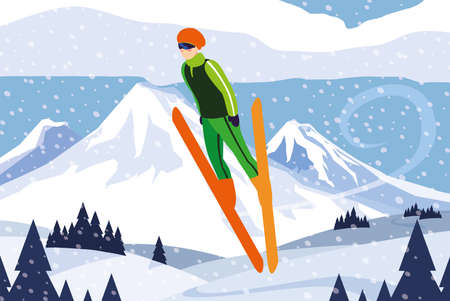 man with mountain ski, winter sport vector illustration design