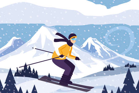 man with mountain ski in landscape with snowfall vector illustration design Stock Illustratie