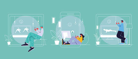 people connected online at home by different electronic means vector illustration design