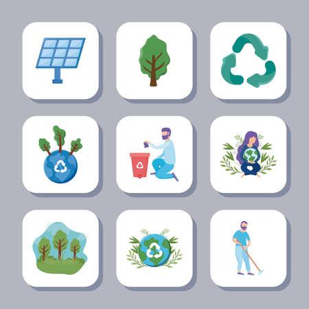 set of icons renewable energy on white background vector illustration design