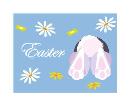 rabbit entering the burrow, card easter vector illustration design