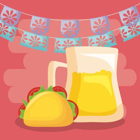 viva mexico celebration with beer in jar and taco food vector illustration design Illustration