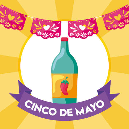 tequila bottle, traditional Mexican drink vector illustration design
