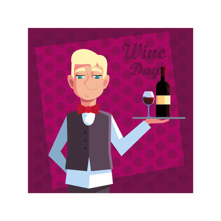 man waiter holding tray with bottle wine vector illustration design