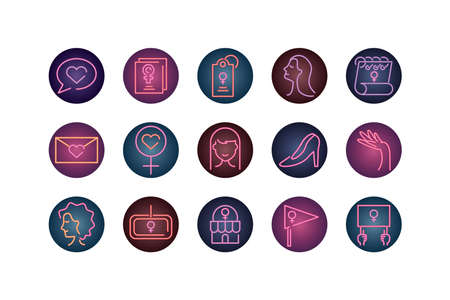 womens day concept of icons set over white background, neon style, vector illustration