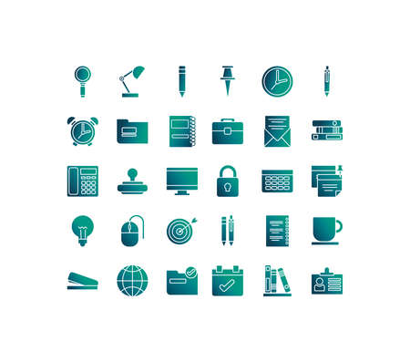 set of icons office , gradient style icon vector illustration design