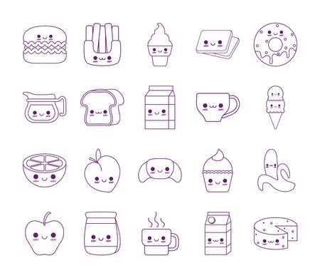 line style icon set design, Kawaii food cartoons theme Vector illustration Vecteurs
