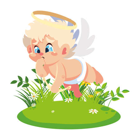 cupid angel aiming an arrow on white background, valentines day vector illustration design Illustration