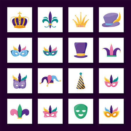 Mardi gras icon set inside frames design, Party carnival decoration celebration festival holiday fun new orleans and traditional theme Vector illustration