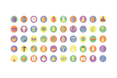 happy easter day icons set over white background, block style icon, vector illustration Vettoriali