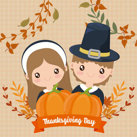 couple of pilgrims with label thanksgiving day vector illustration design