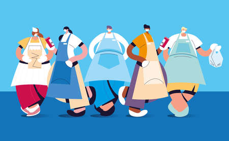 group of waiters with face mask and uniform vector illustration design Ilustracja