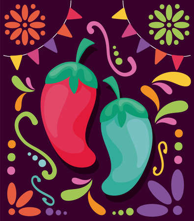 hot chili peppers with symbols of cinco de mayo vector illustration design
