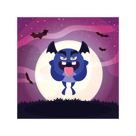 scary monster in halloween night, angry monster vector illustration design Illustration