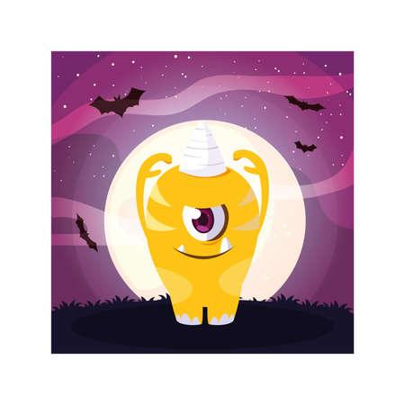 alien monster in halloween night, funny monster vector illustration design Illustration