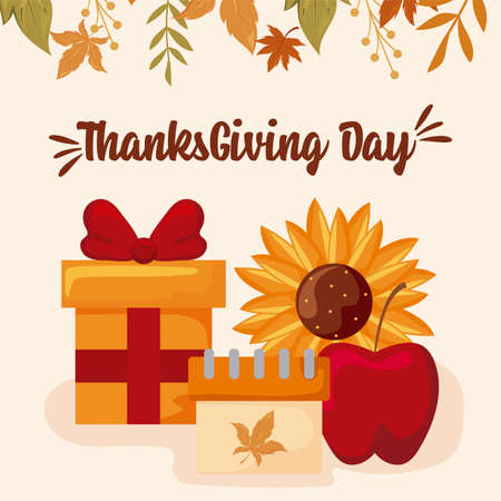 card with label thanksgiving day vector illustration design