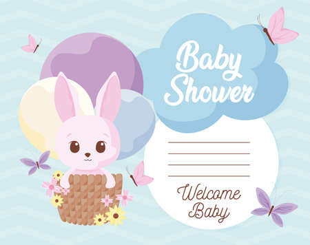 rabbit cartoon design, Baby shower invitation party card and decoration theme Vector illustration Ilustração