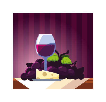 wine glass with grapes and cheese portion vector illustration design Illustration