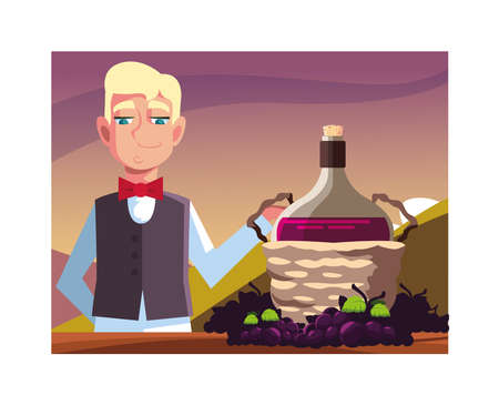 man professional waiter offering red wine vector illustration design Ilustracja