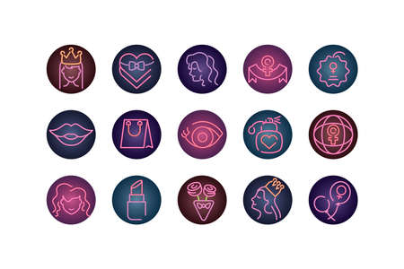 female and womens day concept of icons set over white background, neon style, vector illustration