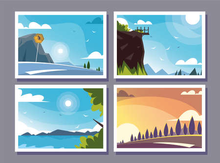 four scenes with nature landscape and beautiful fields vector illustration design
