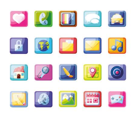 set of icons mobile app vector illustration design Ilustración de vector