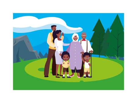 big family walking in the park together vector illustration design
