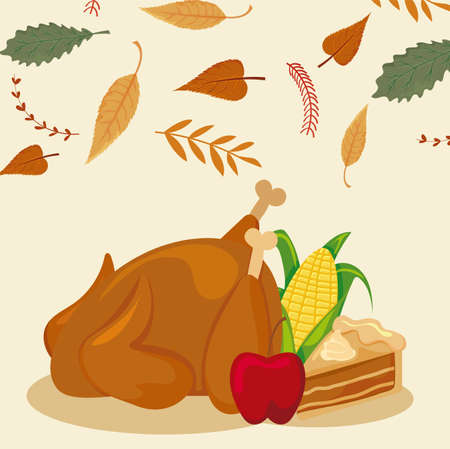 set of icons thanksgiving with autumn leaves of background vector illustration design 矢量图像